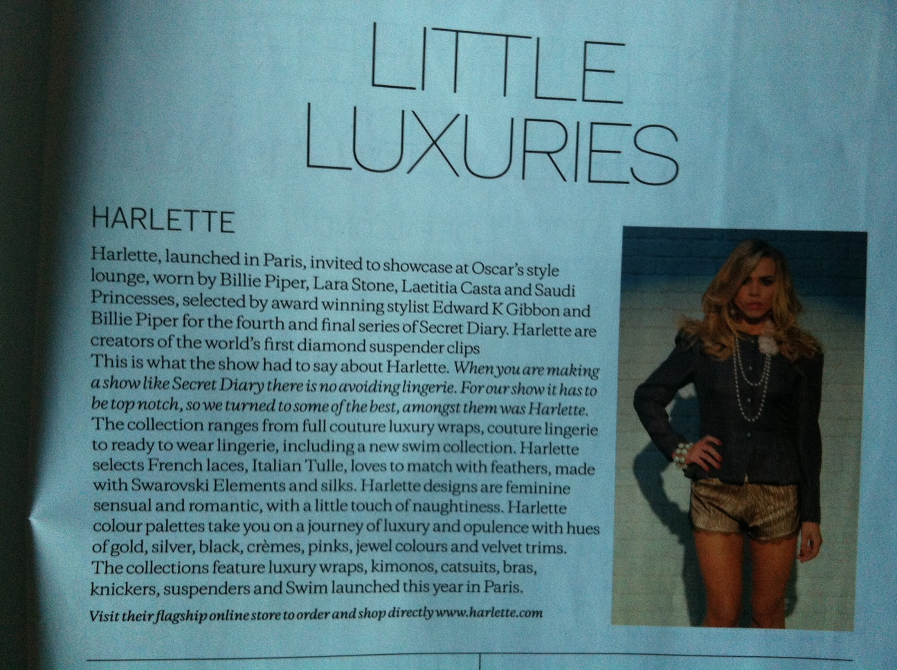 95c9664f2 ... UK Little Luxuries – September edition featuring the fabulous Billie  Piper from Secret Diary season four in our double trouble luxurious lounge  set.